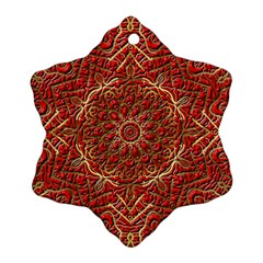 Red Tile Background Image Pattern Snowflake Ornament (Two Sides)