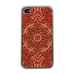 Red Tile Background Image Pattern Apple iPhone 4 Case (Clear)