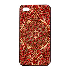 Red Tile Background Image Pattern Apple Iphone 4/4s Seamless Case (black)