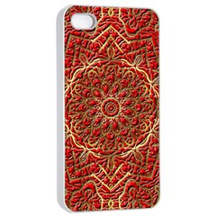 Red Tile Background Image Pattern Apple iPhone 4/4s Seamless Case (White)