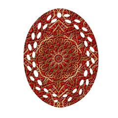 Red Tile Background Image Pattern Oval Filigree Ornament (Two Sides)