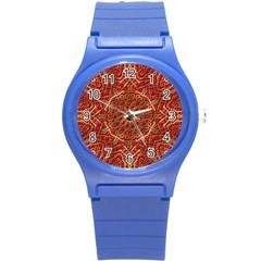 Red Tile Background Image Pattern Round Plastic Sport Watch (S)