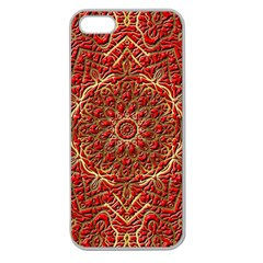 Red Tile Background Image Pattern Apple Seamless Iphone 5 Case (clear)