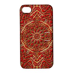 Red Tile Background Image Pattern Apple Iphone 4/4s Hardshell Case With Stand
