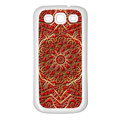 Red Tile Background Image Pattern Samsung Galaxy S3 Back Case (White)