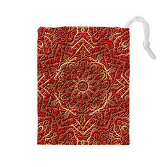 Red Tile Background Image Pattern Drawstring Pouches (large)