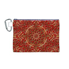 Red Tile Background Image Pattern Canvas Cosmetic Bag (M)