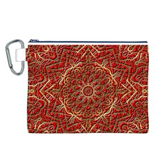 Red Tile Background Image Pattern Canvas Cosmetic Bag (l)