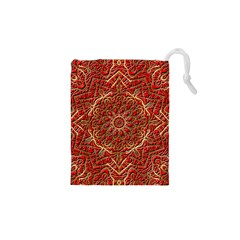 Red Tile Background Image Pattern Drawstring Pouches (xs)