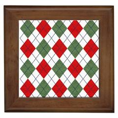 Red Green White Argyle Navy Framed Tiles