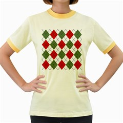 Red Green White Argyle Navy Women s Fitted Ringer T-Shirts