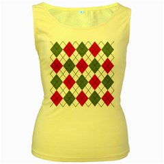 Red Green White Argyle Navy Women s Yellow Tank Top