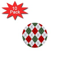 Red Green White Argyle Navy 1  Mini Buttons (10 Pack)