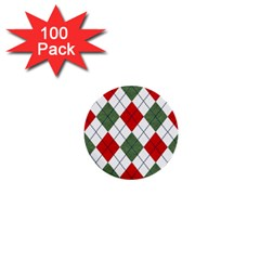 Red Green White Argyle Navy 1  Mini Buttons (100 Pack)