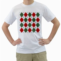 Red Green White Argyle Navy Men s T-Shirt (White) (Two Sided)