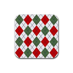 Red Green White Argyle Navy Rubber Coaster (Square)