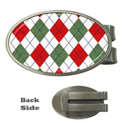 Red Green White Argyle Navy Money Clips (oval)