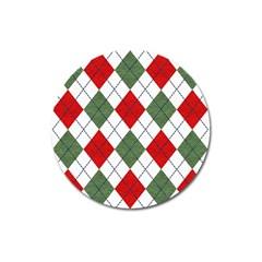 Red Green White Argyle Navy Magnet 3  (Round)