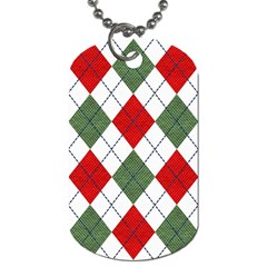 Red Green White Argyle Navy Dog Tag (Two Sides)