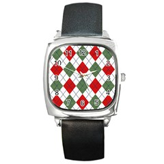 Red Green White Argyle Navy Square Metal Watch