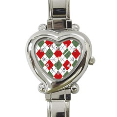 Red Green White Argyle Navy Heart Italian Charm Watch