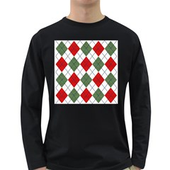 Red Green White Argyle Navy Long Sleeve Dark T Shirts