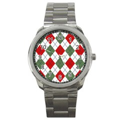 Red Green White Argyle Navy Sport Metal Watch