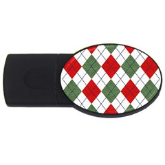 Red Green White Argyle Navy USB Flash Drive Oval (4 GB)
