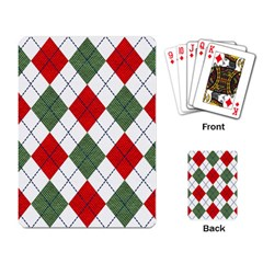 Red Green White Argyle Navy Playing Card