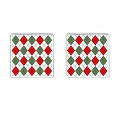 Red Green White Argyle Navy Cufflinks (square)