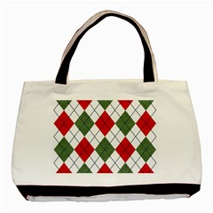 Red Green White Argyle Navy Basic Tote Bag