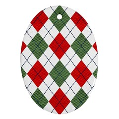 Red Green White Argyle Navy Oval Ornament (Two Sides)