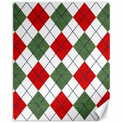 Red Green White Argyle Navy Canvas 16  X 20