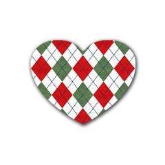 Red Green White Argyle Navy Rubber Coaster (Heart)