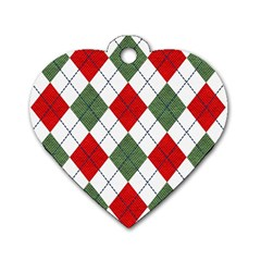 Red Green White Argyle Navy Dog Tag Heart (one Side)