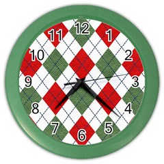 Red Green White Argyle Navy Color Wall Clocks