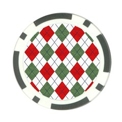 Red Green White Argyle Navy Poker Chip Card Guard