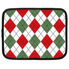 Red Green White Argyle Navy Netbook Case (large)
