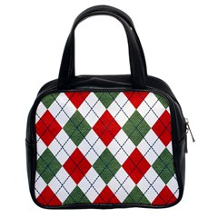 Red Green White Argyle Navy Classic Handbags (2 Sides)