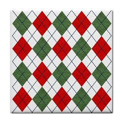 Red Green White Argyle Navy Face Towel