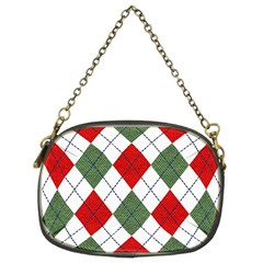Red Green White Argyle Navy Chain Purses (two Sides)