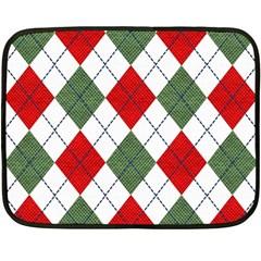 Red Green White Argyle Navy Double Sided Fleece Blanket (Mini)
