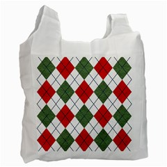 Red Green White Argyle Navy Recycle Bag (One Side)
