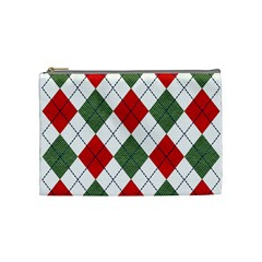 Red Green White Argyle Navy Cosmetic Bag (Medium)