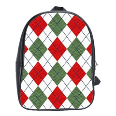 Red Green White Argyle Navy School Bags(Large)