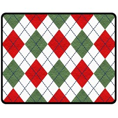 Red Green White Argyle Navy Fleece Blanket (Medium)