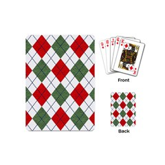 Red Green White Argyle Navy Playing Cards (Mini)