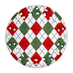 Red Green White Argyle Navy Round Filigree Ornament (Two Sides)