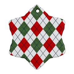 Red Green White Argyle Navy Snowflake Ornament (two Sides)