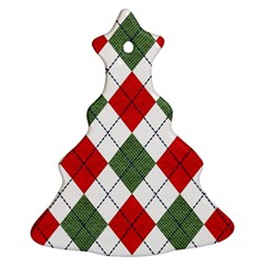 Red Green White Argyle Navy Christmas Tree Ornament (Two Sides)